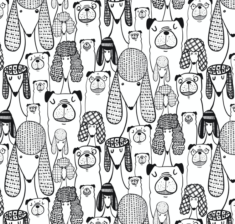 Pugs poodles - pugs, pattern, patterndesign - josephinegraucob | ello