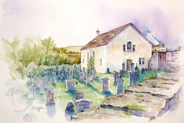 Scottish Churchyard, Watercolor - rlnelsonmo | ello