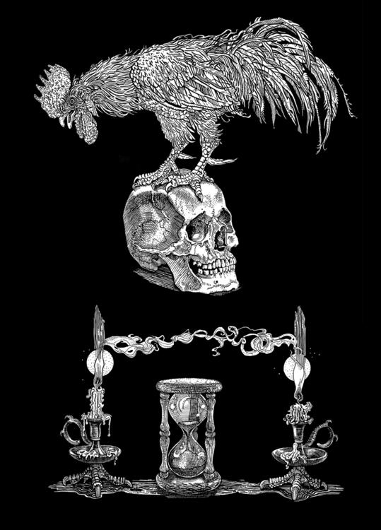 Rooster, skull hourglass - ink, blackwhite - naktisart | ello