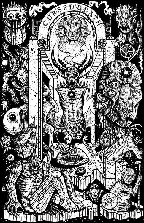 occult, illustration, blackandwhite - curseddeath   ello