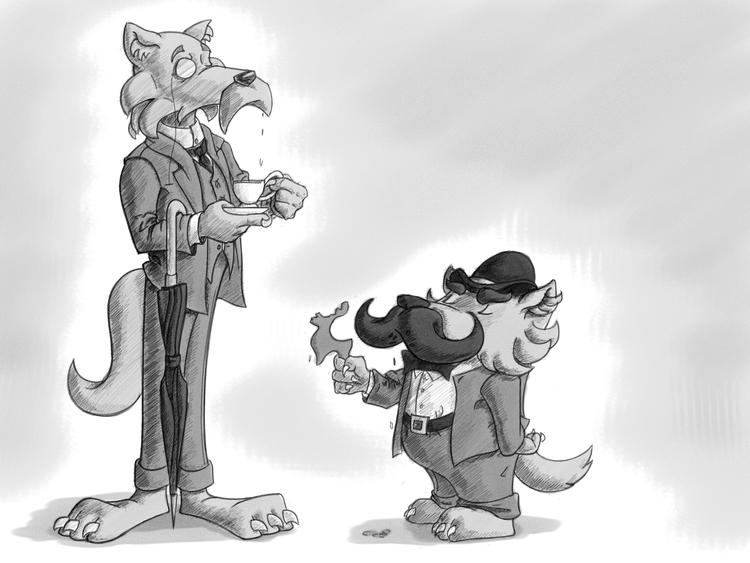 storybook, wolf, gentleman, illustration - puzzgon | ello