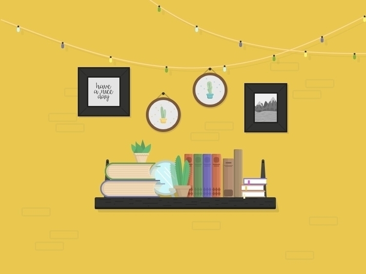 • Shelfie flat illustration - books - alicebukhovski | ello
