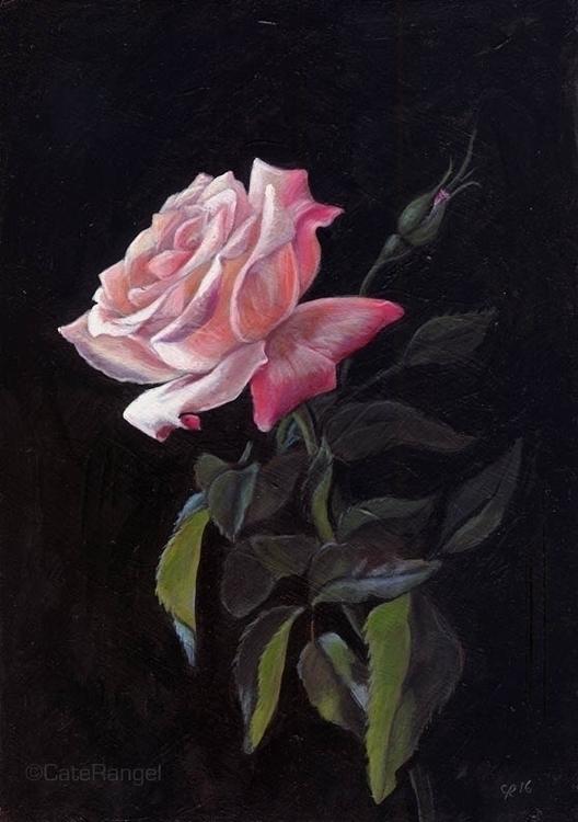 Pink Rose 5 7 acrylic panel 201 - caterangel | ello