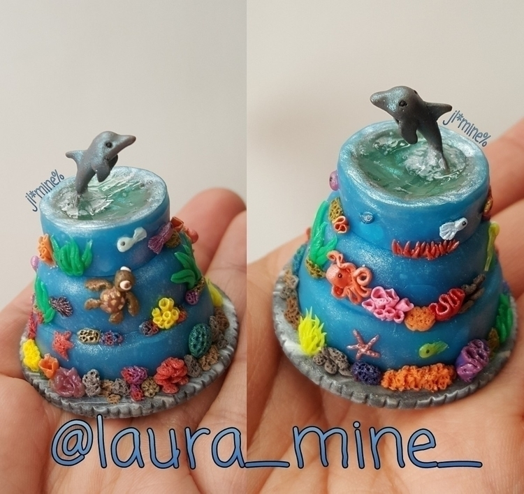 Tiny ocean cake - polymerclay, tiny - laura_mine | ello