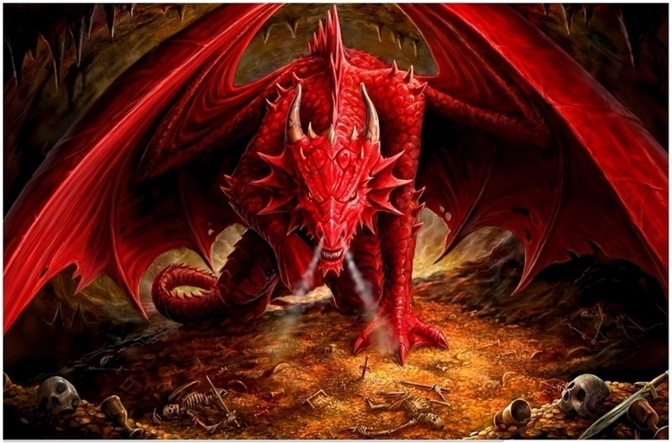 Fantasy Red Dragon Gothic Canva - sfaart | ello