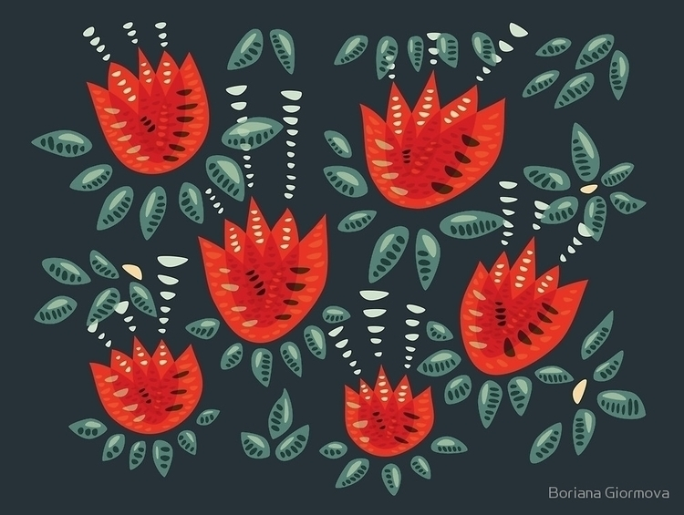 tulips pattern featured today.  - borianag | ello