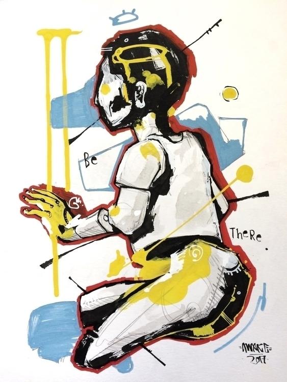Aid 9x12 Paint pen ink 80$ Mess - awake_pdx | ello