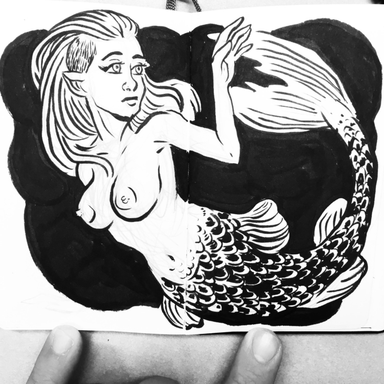 mermay, mermaid, ink - royallyeric | ello