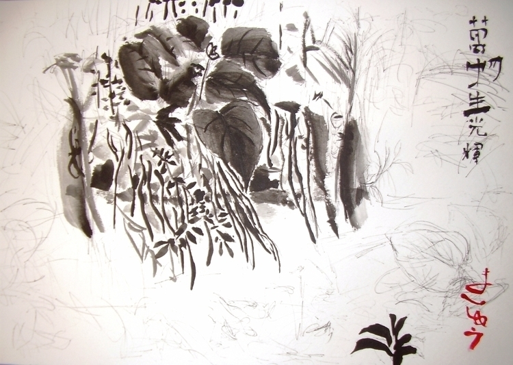 Plant waterfall, ink, Chinese w - clan_morrison_art | ello