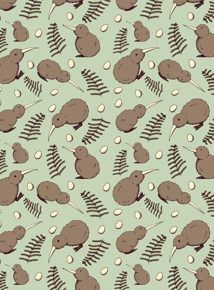 kiwi bird themed pattern. piece - svaeth | ello