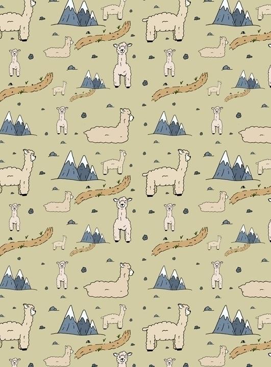 llama themed pattern drawn pen  - svaeth | ello