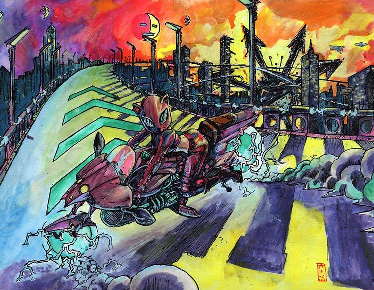 Hoverbike city colored ink bris - artistkey | ello