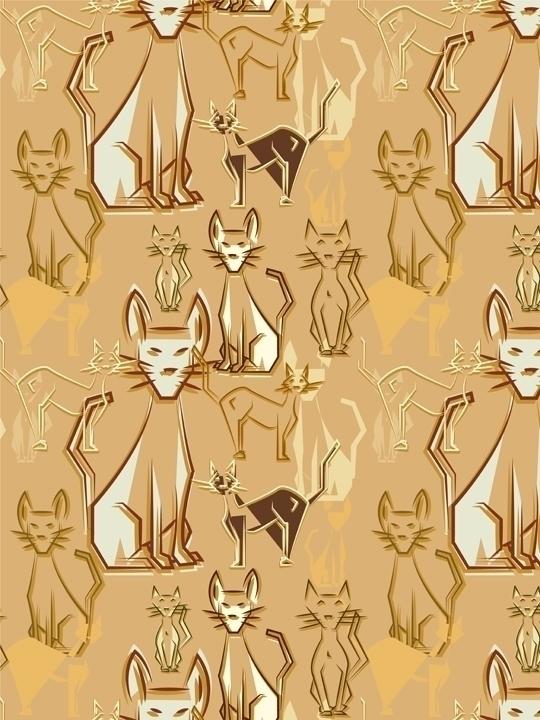 Cubist Cat themed pattern desig - svaeth   ello