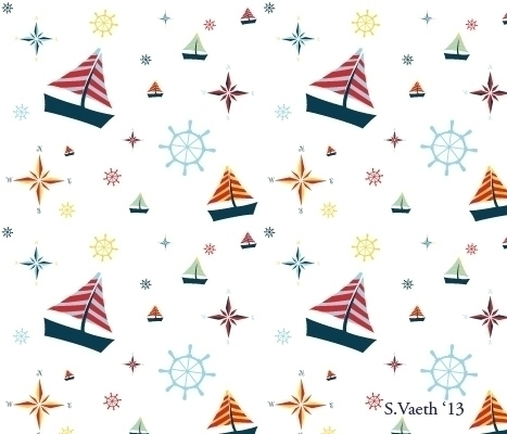 sailing themed pattern - ship, patterndesign - svaeth | ello