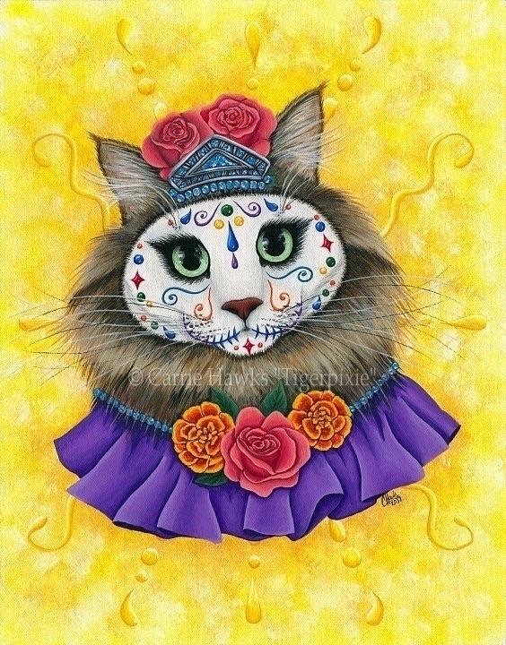 Day Dead Cat Princess - 11x14 A - tigerpixie   ello