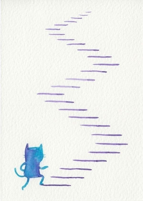 downhill - watercolour, illustration - catsac   ello