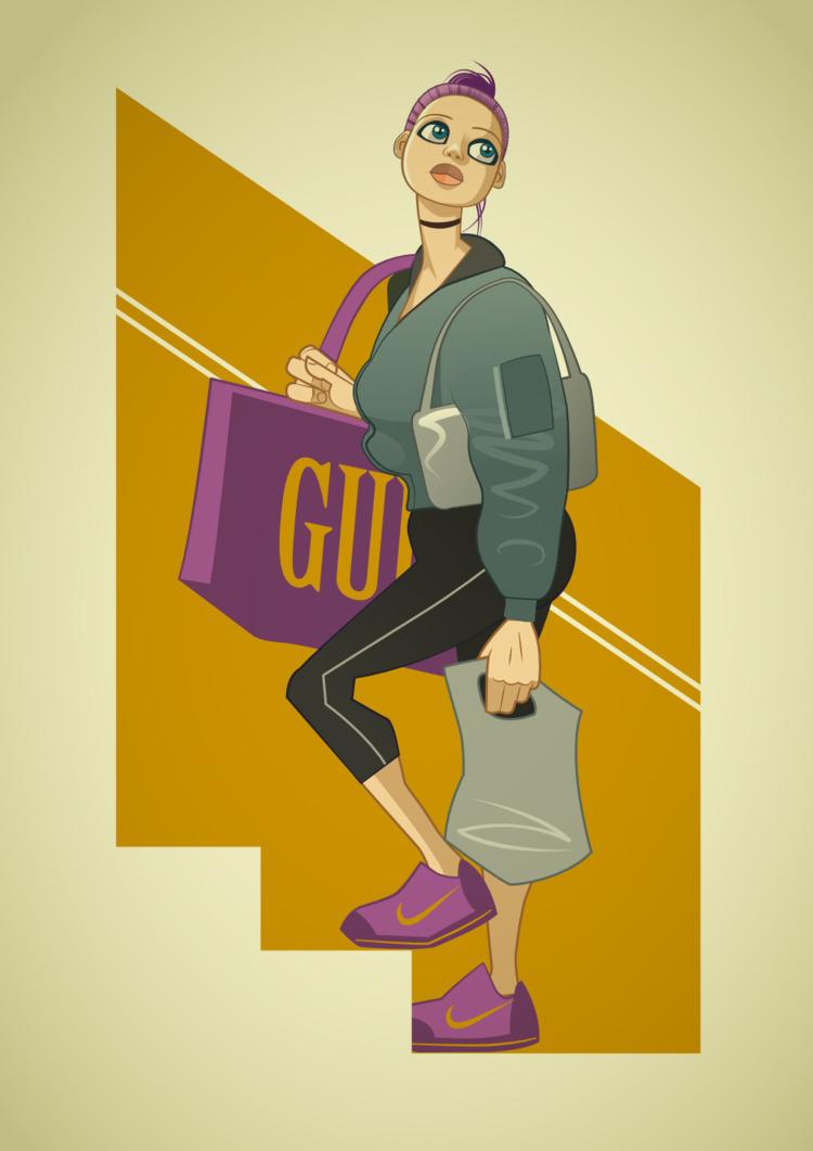 girl, shopper, vector, illustration - giantlobster | ello