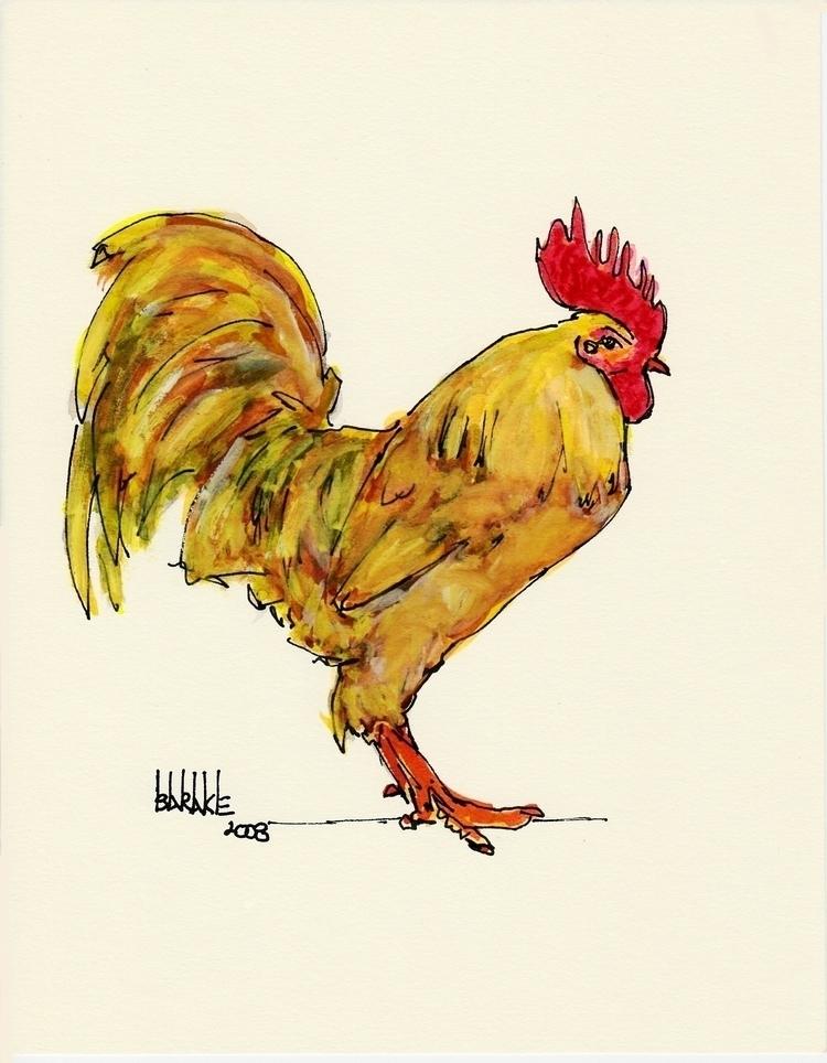 ROOSTER - illustration, ink, animals - barakesculptor | ello