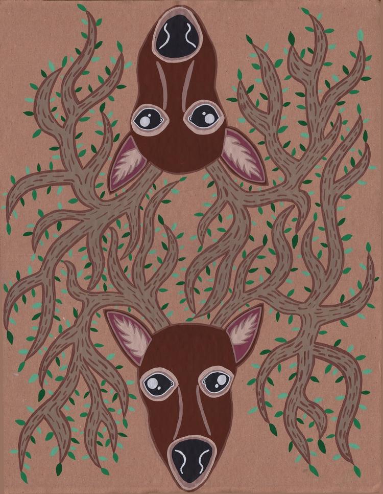 Duo Deer | Rendered gouache Ins - carolinewillustration | ello