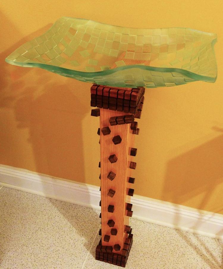 Glass vessel wood base....Falli - dalespiry | ello