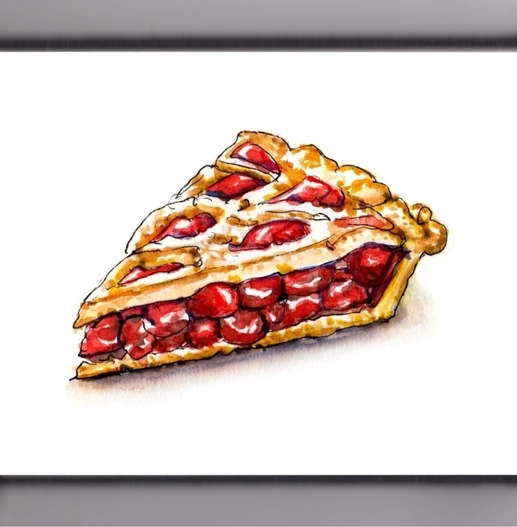 Simple Cherry Pie - watercolor, watercolour - doodlewash | ello