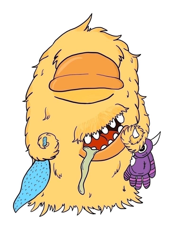 sleepy Monday morning monster - illustration - awilkers | ello