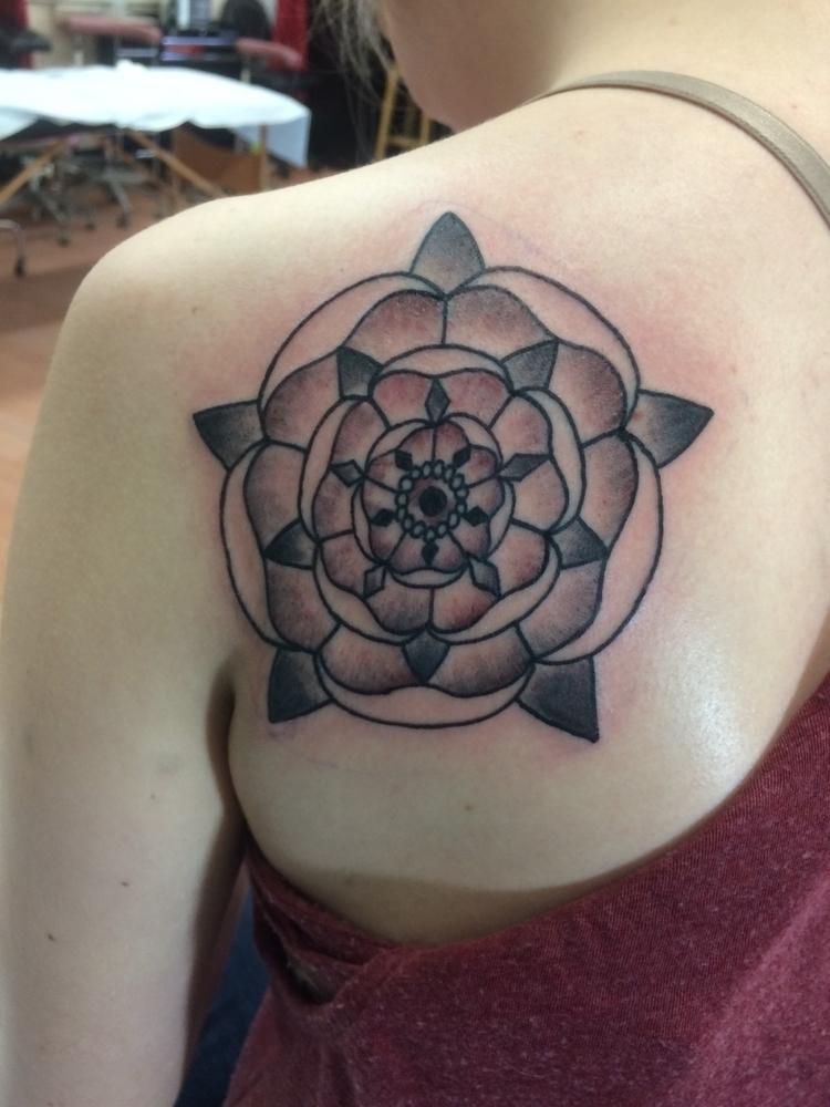 Mandala, flower, tattoo., blackandgrey - levigreenacres | ello