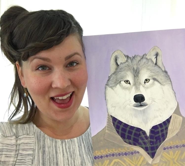 Arctic Wolf, gouache watercolor - jamieluoto | ello