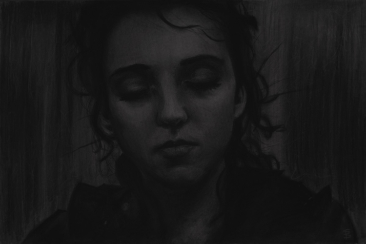 Whisper (charcoal drawing) Skyl - skyler_brown_portraits | ello