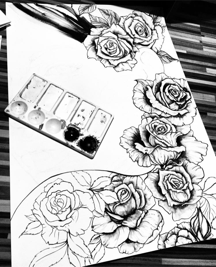 🖤:rose::rose::rose - fashionsketch - ibreathart | ello