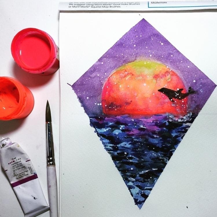 :ocean::dolphin::heart:️ - watercolorpainting - ibreathart | ello
