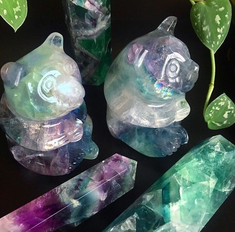 couple super cute Fluorite Pand - midnightauracrystals | ello