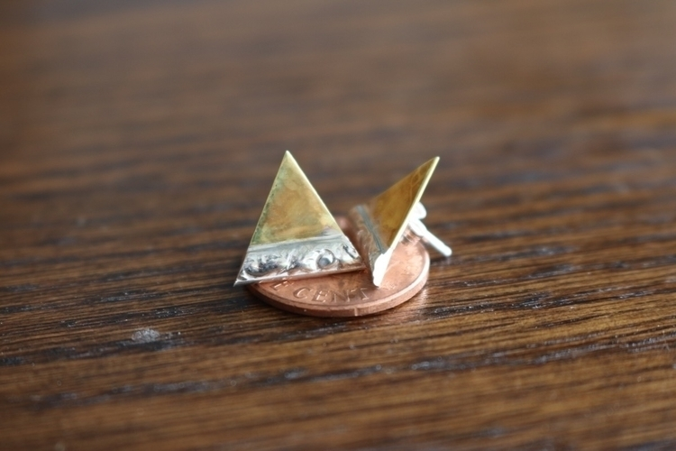 Brass/sterling silver triangle  - gavvistone | ello