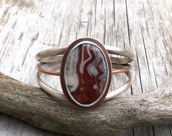 Beautiful crazy lace agate cuff - twistedhillstudio | ello