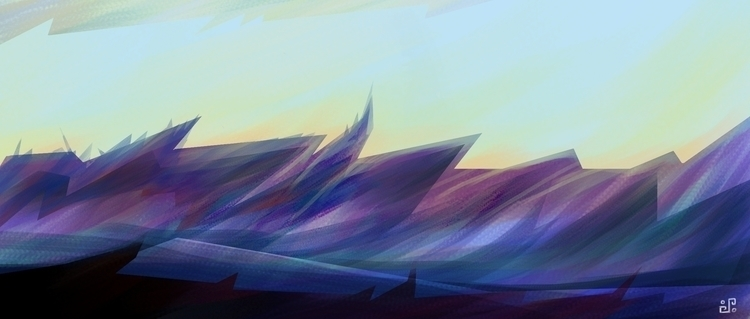 Purple mountain - environment, drawing - alexpoint | ello
