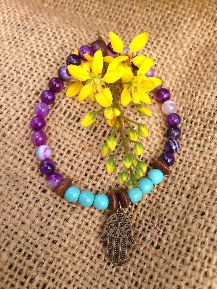 Hamsa Hand bracelet:purple_hear - bohoelementsdesigns | ello