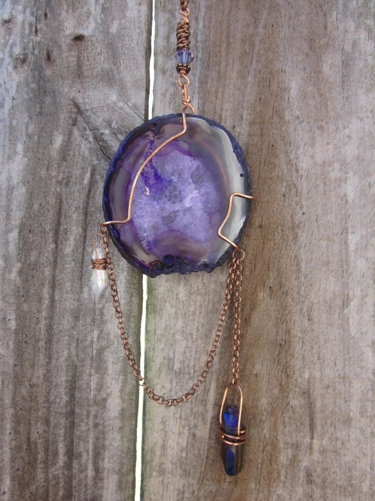 Purple agate wrapped raw copper - stonegypsy | ello