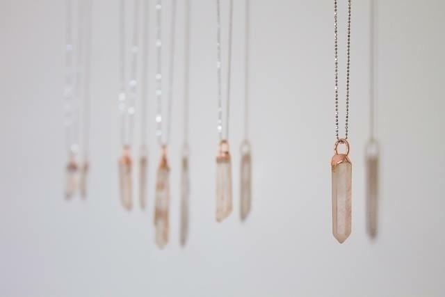Pink Lemurian Crystals delicate - fivehandsstudio   ello