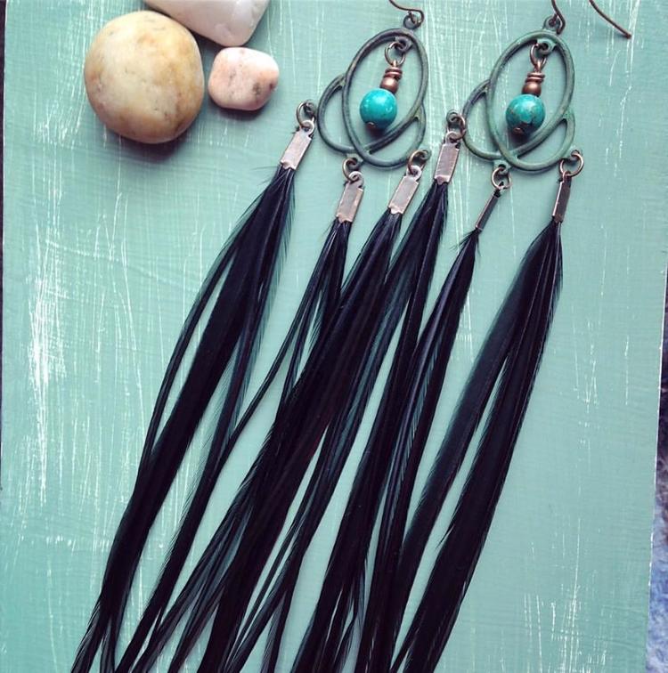 Black chandelier style feather  - kookoomamadesign | ello