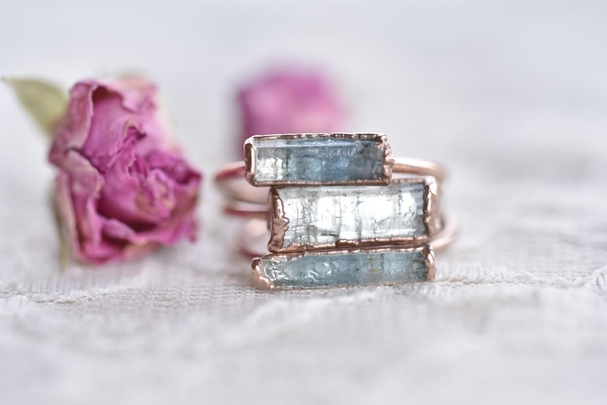 raw aquamarine bar rings left 2 - featheroak | ello