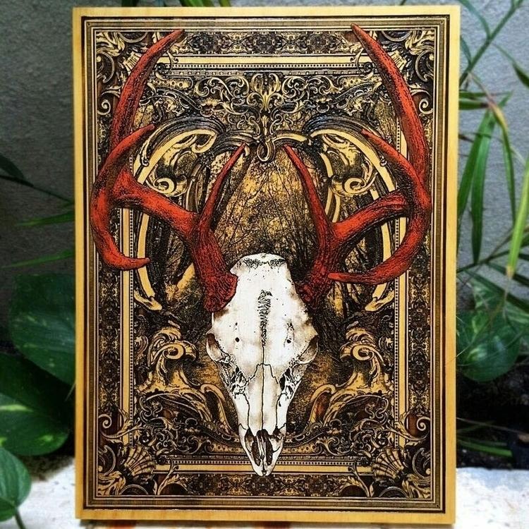 Deer Skull laser engraved pinew - engraversdungeon | ello