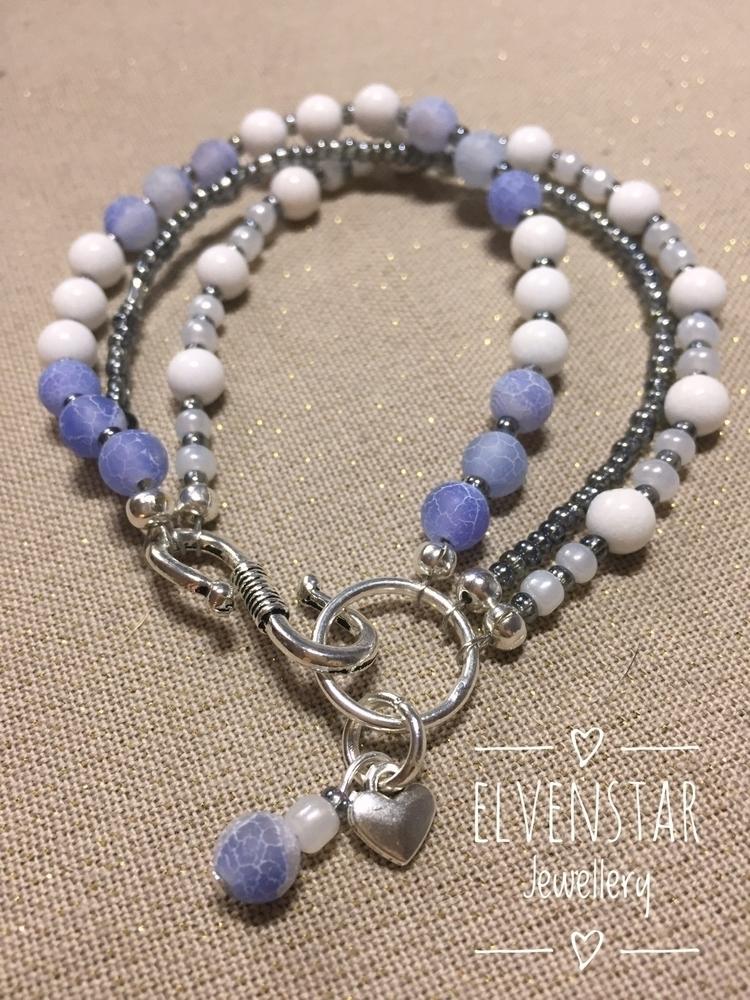 White jade, blue crackle bead s - elvenstarjewellery | ello