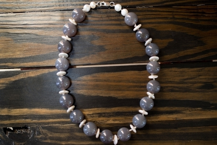 Large Agate + Freshwater Pearl  - northcroftstudio | ello