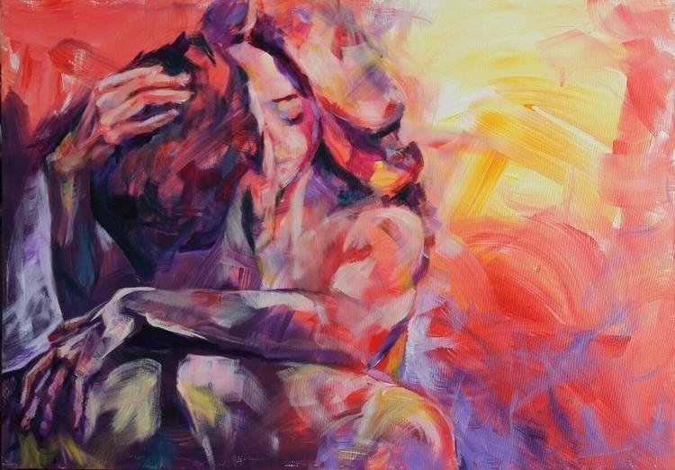 acrylic, canvas, love, couple - dimamog | ello