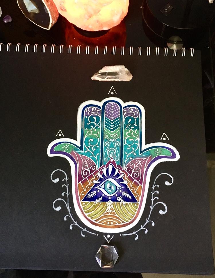 Hamsa black paper prismacolor p - she_draws_for_love | ello