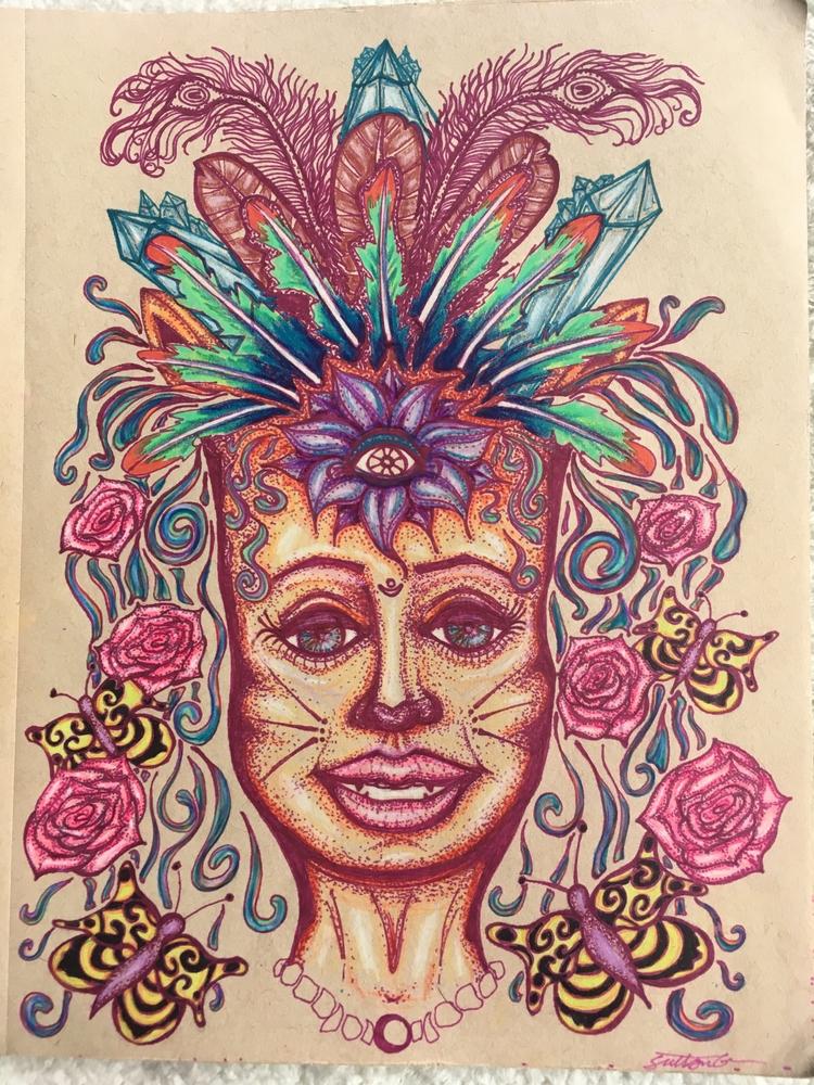 Leo lady, kinda love draw cat l - she_draws_for_love | ello