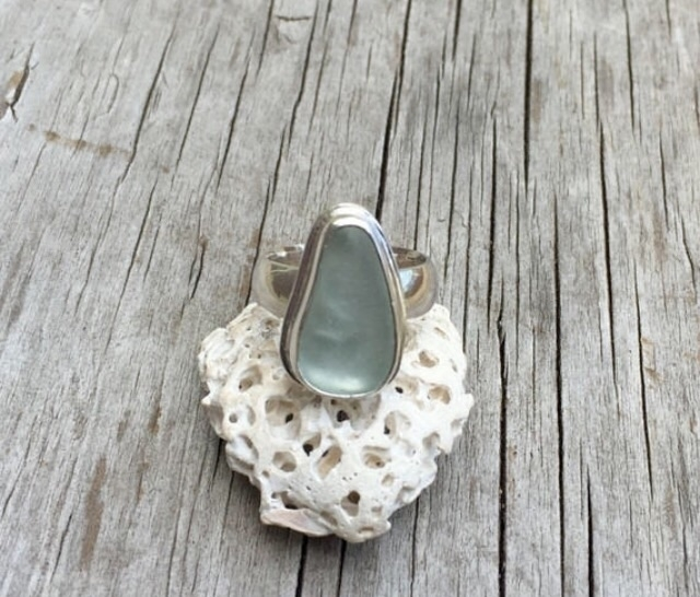 blue/grey sea glass ring, size  - twistedhillstudio | ello