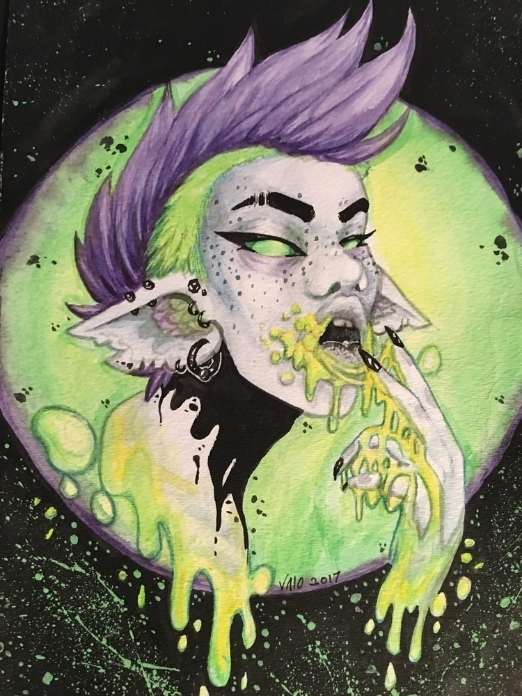 watercolor, gouache, ink, slime - v4l0 | ello