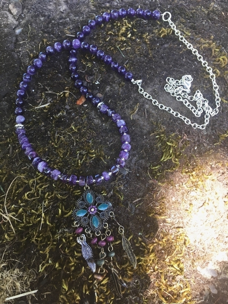Amethyst charm chain necklace:p - gypsyxjewels | ello