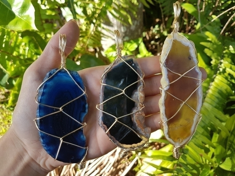 Wire wrapped macrame pendants,  - emotionalwarrior | ello